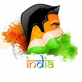 pic of indian independence day  - Illustration of a young man face painted in national flag colors on Ashoka Wheel and splash background for Indian Independence Day celebration - JPG