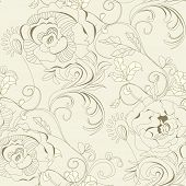 foto of art nouveau  - Floral seamless wallpaper - JPG