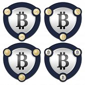 pic of bit coin  - Set of four abstract icons with golden screws and bit coin symbol - JPG