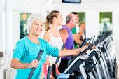 image of elliptical  - Group with young and Senior women and men on elliptical trainer exercising in gym - JPG