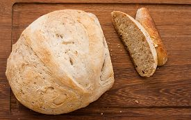 picture of home-made bread  - home made bread on wooden board  - JPG