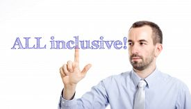 foto of all-inclusive  - All inclusive Young businessman with small beard touching text - JPG