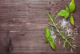 picture of peppercorns  - Scattered fresh basil and rosemary - JPG