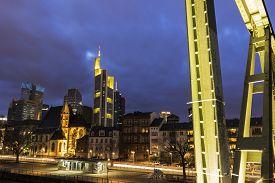image of frankfurt am main  - Frankfurt am Main in Germany in the evening - JPG