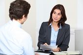 stock photo of interview  - Job applicant having an interview - JPG
