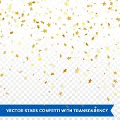 Gold star confetti rain festive holiday background. Vector golden paper foil stars falling down isol poster