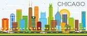 Chicago Skyline with Color Buildings. Vector Illustration. Business Travel and Tourism Concept with  poster