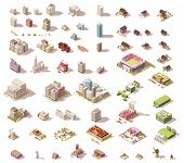 Vector buildings set. Isometric low poly city buildings, rural buildings and houses, industrial stru poster