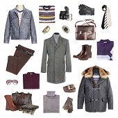 Man's winter clothes on a white background