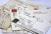 Vintage Postcards With Stamps, Postmarks And Adresses