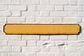 Blank Yellow British Street Sign On A White Wall.