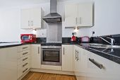 modern kitchen with trendy appliances in red