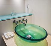 green tempered glass bowl hand wash basin