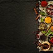 Fresh delicious ingredients for healthy cooking  on rustic background, top view. Diet, cooking, clea poster