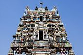picture of hindu temple  - gopuram of Vishnu Temple of Cochin in Kerala state india - JPG