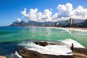 stock photo of ipanema  - beautiful ipanema Leblon beach in rio de janeiro brazil - JPG