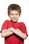 little caucasian boy portrait frown sulk isolated studio on white background