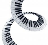 3d rendering of piano keys in a spiral