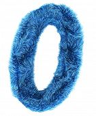 3d rendering of the number 0 in blue fur
