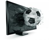 3d rendering of a Swiss soccerball breaking through monitor