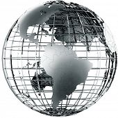 3d rendering of a metal globe showing Middle America