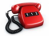 3d rendering of an old vintage phone with three BIG buttons saying 112, the emergency number in Europe