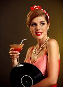 Retro woman with music vinyl record. Pin up girl drink martini cocktail . Pin-up retro female style. poster
