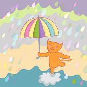 Smiling cat under rain vector illustration