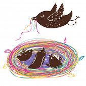 Nestlings in colorful nest . Cartoon vector