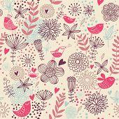 Постер, плакат: Романтический бесшовные шаблон Птицы в цветы