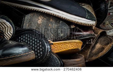 poster of Close Up Of Old Dirty Male Shoes. Used Shoes. Heap Of Old Shoes. Many Of Dirty Men Shoe. Men Shoes C