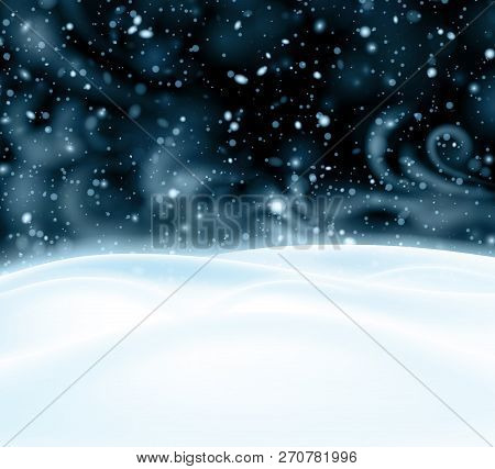 Background With Night Winter Landscape