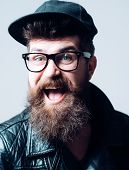 Mature Hipster With Beard. Happy Man In Glasses. Bearded Man. Male Barber Care. Brutal Caucasian Hip poster