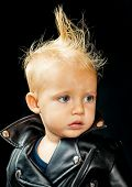 No Rock Music, No Life. Little Child Boy In Rocker Jacket. Rock Style Child. Rock And Roll Fashion T poster