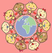 Cartoon Babies And World Africa And Europe (Vector) poster