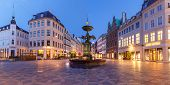 Stork Fountain On The Amagertorv Square, Stroget Street During Morning Blue Hour, Copenhagen, Capita poster