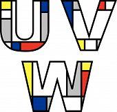 Mondrian Alphabets Uvw (Vector)