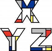 Mondrian Alphabets Xyz (Vector)