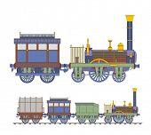 Old train blue steam