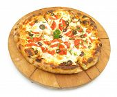 picture of pizza parlor  - Pizza on wooden plate - JPG