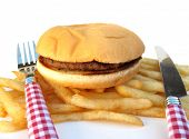 pic of pommes de terre frites  - Hamburger burger and french fries potatoes - JPG
