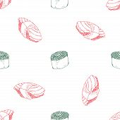 Sushi, Rolls Seamless Pattern. Vector Japanese Food Sushi Seamless Pattern. Hand Drawn Sushi Rolls. poster