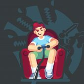 Happy Gamer Playing Video Game Sitting On The Couch Sofa. Gamepad In Hands. An Excited Young Man Pla poster
