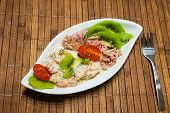 Healthy Low-carbohydrate Food In Small Bowl, Lunch With Tomatoes, Tuna, Kiwi, Shrimp Homemade Sugar- poster