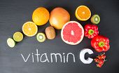Vitamin C In Fruits And Vegetables. Natural Products Rich In Vitamin C poster