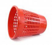 Wastebasket red plastic horizontal