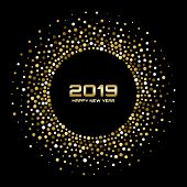New Year 2019 Card Background. Gold Glitter Paper Confetti. Glistening Golden Disco Lights. Glow Cir poster