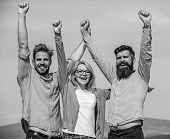 Company Of Three Happy Colleagues Or Partners Celebrating Success, Sky Background. Men With Beard In poster