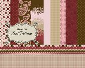 Set of 10 Seamless Sari Patterns, with matching ribbons, borders and label