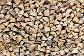 Stack Of Firewood. Firewood Precisely Stacked. Background From Wooden Firewood. Preparation Woods Fo poster